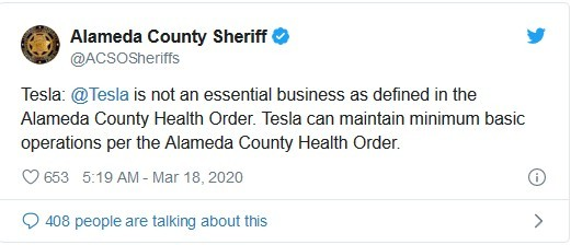 County deems Tesla a 'non-essential' service during shelter-in-place order